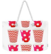 the Card with Red paper disposable glass in polka dot and zigzag isolated on white with copy space Weekender Tote Bag