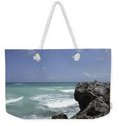 The Caribbean Sea Is Seen From A Rocky Weekender Tote Bag