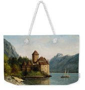 The Castle Of Chillon Evening Weekender Tote Bag by Gustave Courbet