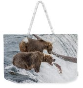 The Catch - Brown Bear Vs. Salmon Weekender Tote Bag