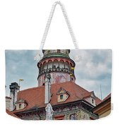 The Cesky Krumlov Castle Tower With A Fountain Below Within The Czech Republic Weekender Tote Bag