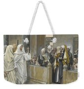 The Chief Priests Ask Jesus By What Right Does He Act In This Way Weekender Tote Bag