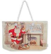 The Christmas Spirit Vintage Card Santa Next To Fireplace Weekender Tote Bag