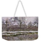 The Church At Vetheuil Under Snow Weekender Tote Bag by Claude Monet