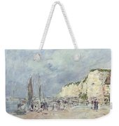 The Cliffs At Dieppe And The Petit Paris Weekender Tote Bag by Eugene Louis Boudin