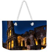 The Coleseum In Rome At Night Weekender Tote Bag by David Smith