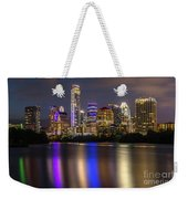 The Colorful Neon Lights On The Austin Skyline Shine Bright Weekender Tote Bag