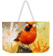 The Curious Cardinal Weekender Tote Bag
