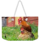 The Curious Cock And The Jealous Hen In The Mystery Of The Black Feather Weekender Tote Bag