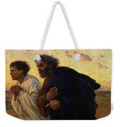 The Disciples Peter And John Running To The Sepulchre On The Morning Of The Resurrection Weekender Tote Bag by Eugene Burnand