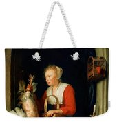 The Dutch Housewife Or The Woman Hanging A Cockerel In The Window 1650 Weekender Tote Bag