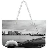 The Erasmus Bridge In Rotterdam Bw Weekender Tote Bag