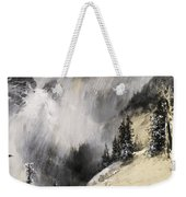 The Falling Flakes Mountain Scene. Yosemite A Mountain Snowfall Weekender Tote Bag