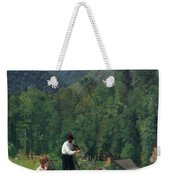 The Farmer And His Son At Harvesting Weekender Tote Bag