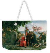 The First Landing Of Christopher Columbus Weekender Tote Bag by Dioscoro Teofilo Puebla Tolin