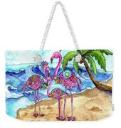 The Flamingo Family's Day At The Beach Weekender Tote Bag