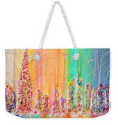 The Future City Abstract Painting  Weekender Tote Bag by Julia Apostolova