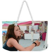 The Girl-artist  Draws A Portrait Weekender Tote Bag