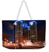 The Gm Renaissance Center At Night From Hart Plaza Detroit Michigan Weekender Tote Bag