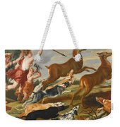 The Goddess Diana And Her Nymphs Hunting Deer Weekender Tote Bag