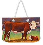 The Good Mom Folk Art Hereford Cow And Calf Weekender Tote Bag
