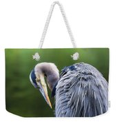 The Great Blue Heron Perched On A Tree Branch Preening Weekender Tote Bag