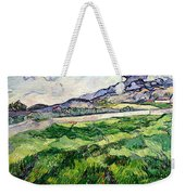 The Green Wheatfield Behind The Asylum Weekender Tote Bag by Vincent van Gogh