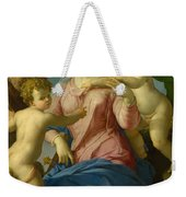 The Holy Family With The Infant Saint John The Baptist, Madonna Stroganoff  Weekender Tote Bag