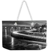 The Icy Charles River At Night Boston Ma Cambridge Black And White Weekender Tote Bag