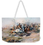 The Indian Encirclement Of General Custer At The Battle Of The Little Big Horn Weekender Tote Bag