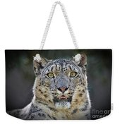 The Intense Stare Of A Snow Leopard Weekender Tote Bag