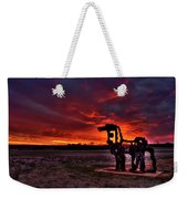The Iron Horse Red Sky Sunset Weekender Tote Bag