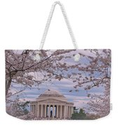 The Jefferson Memorial Attracts Large Crowds At The Cherry Blossom Festival Weekender Tote Bag