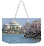 The Jefferson Memorial With Cherry Blossoms And A Lot Of People Weekender Tote Bag