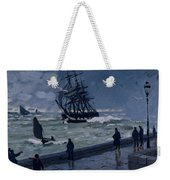 The Jetty At Le Havre In Bad Weather Weekender Tote Bag
