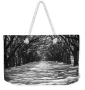 Live Oaks Lane With Shadows - Black And White Weekender Tote Bag