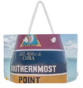 The Key West Florida Buoy Sign Marking The Southernmost Point On Weekender Tote Bag