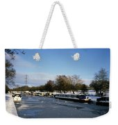 The Macclesfield Canal At Poynton In Winter And Frozen  Cheshire England Weekender Tote Bag