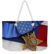 The Medal Of Honor Rests On A Flag Weekender Tote Bag