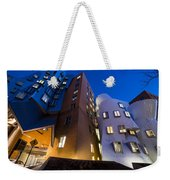 The Mit Stata Center At Night Kendall Square Cambirdge Ma Moon Front Weekender Tote Bag
