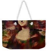 The Mona Lisa Colorful Watercolor Portrait On Worn Canvas Weekender Tote Bag
