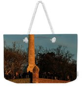 The Moon Rising Behind The Victor Statue In Belgrade In The Golden Hour Weekender Tote Bag