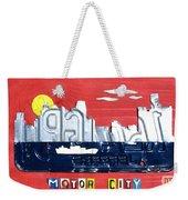 The Motor City - Detroit Michigan Skyline License Plate Art By Design Turnpike Weekender Tote Bag