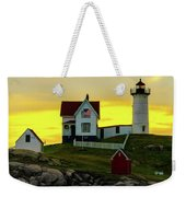 The Nubble Cape Neddick Lighthouse In Maine At Dawn Weekender Tote Bag