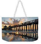Naples Pier At Sunset Naples Florida Ripples Weekender Tote Bag