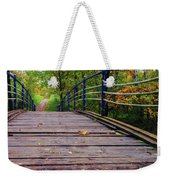 the old bridge over the river invites for a leisurely stroll in the autumn Park Weekender Tote Bag