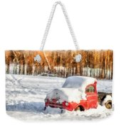 The Old Farm Truck In The Snow Weekender Tote Bag