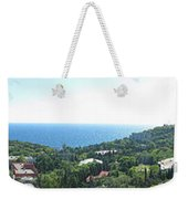the panorama of the ancient castle on a rock, the symbol of the Republic of Crimea on the background Weekender Tote Bag