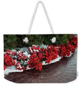 The Path To Christmas - Poinsettias, Trees, Snow, And Walkway Weekender Tote Bag