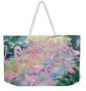 The Pink Pond Of Flamingos Weekender Tote Bag
